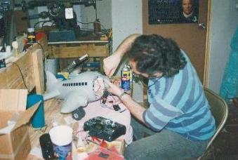 David working on an Animatronic airplane for a childrens video series (1995)